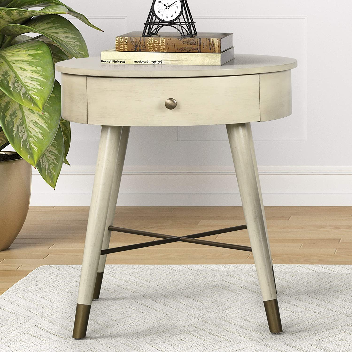 Roundhill Furniture Velsen Mid-Century Modern Wood and Metal End Table with Drawer, Antique White