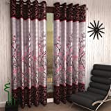 Home Sizzler 2 Piece Eyelet Polyester Door Curtain Set - 7ft, Maroon