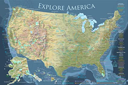 National Parks Map Of Usa.Amazon Com Geojango Maps National Parks Map And Usa Travel