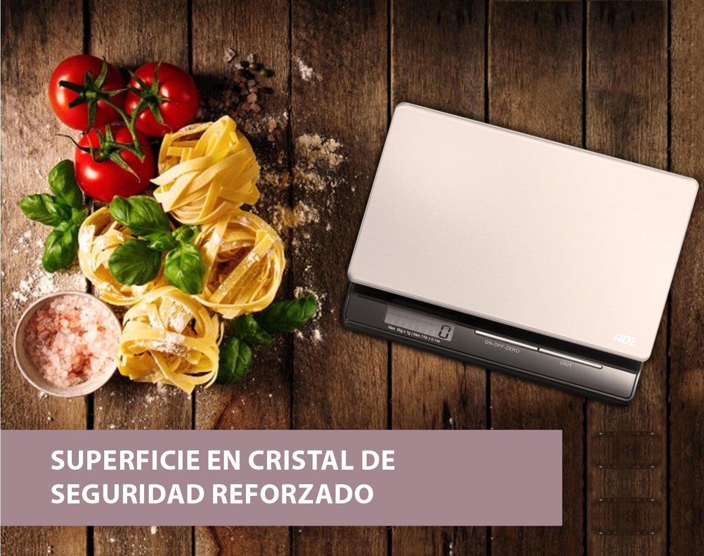 ADE Báscula digital de cocina Franzi KE1215, pantalla LCD, material-cristal de seguridad reforzado (Gris-Negro): Amazon.es: Hogar