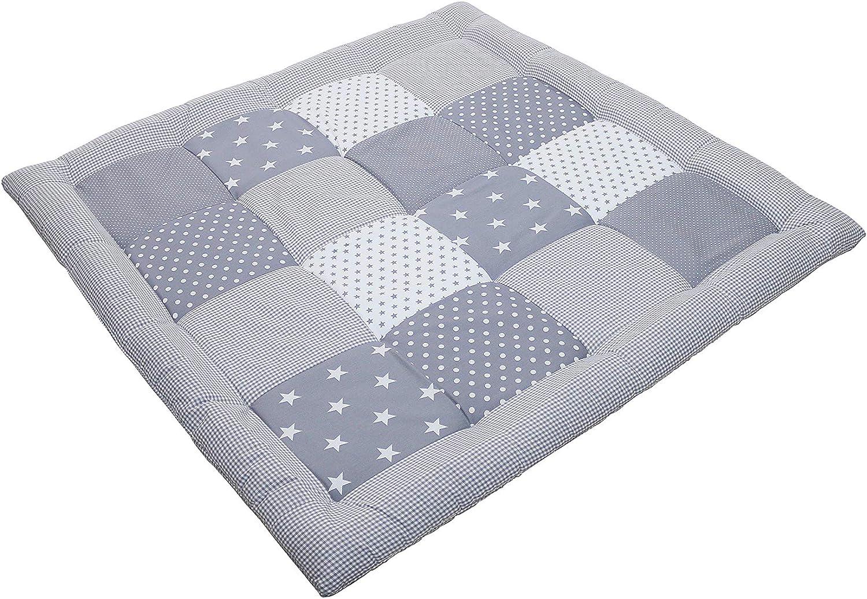 Alfombra para gatear de ULLENBOOM /® con estrellas grises manta para beb/é de 100/x/100 cm; ideal como colcha para el cochecito; apta como alfombra de juegos