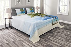 Ambesonne Hawaiian Bedspread, Cloudy Sky Boat in The Sea Palm Trees Sandy Beach Thailand Seascape Picture Print, Decorative Quilted 3 Piece Coverlet Set with 2 Pillow Shams, Queen Size, Green Blue