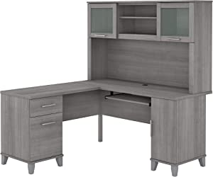 Bush Furniture Somerset L Shaped Desk with Hutch, 60W, Platinum Gray