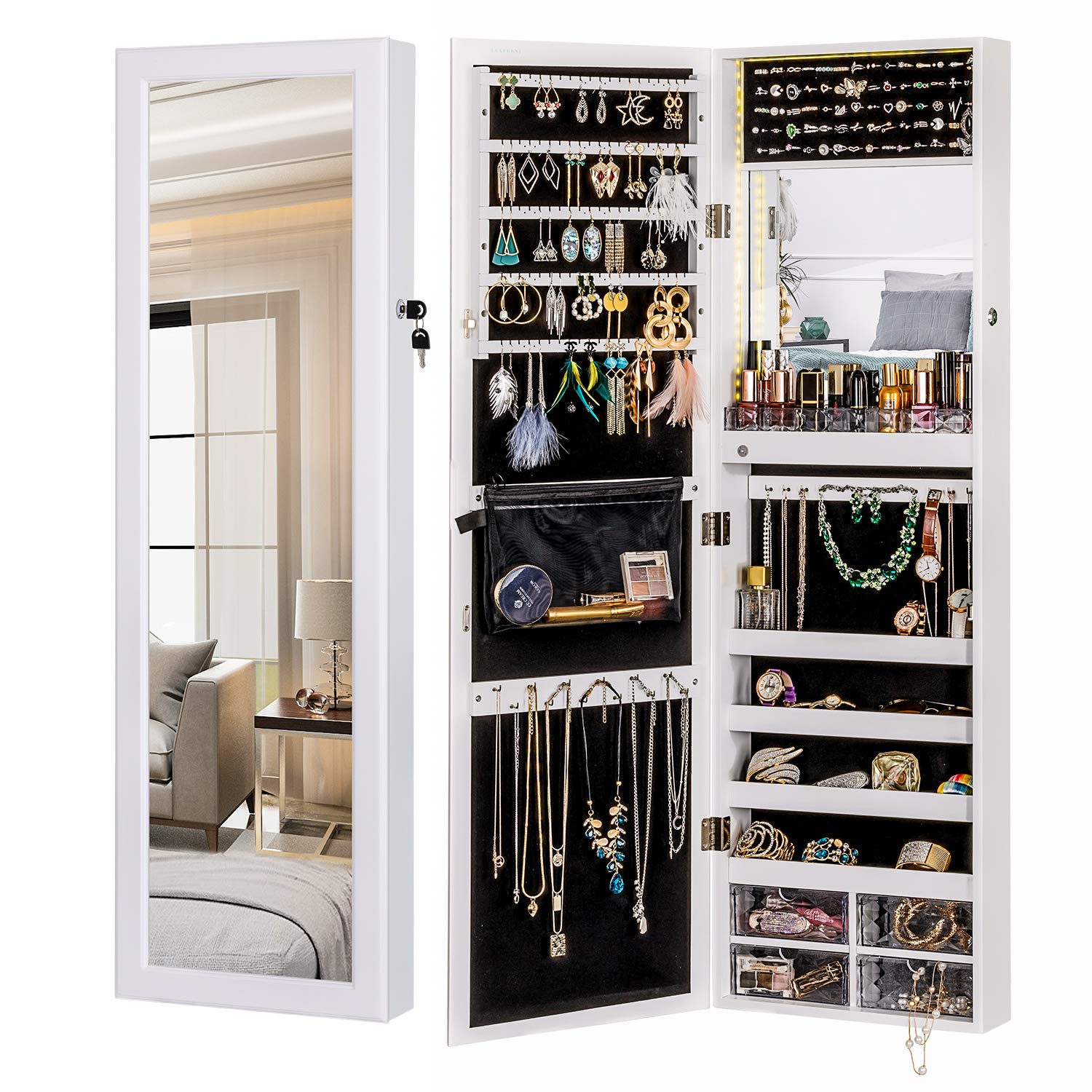 LUXFURNI LED Light Jewelry Cabinet Standing Mirror Makeup Lockable Armoire, Large Storage Organizer w/Drawers (white, M)