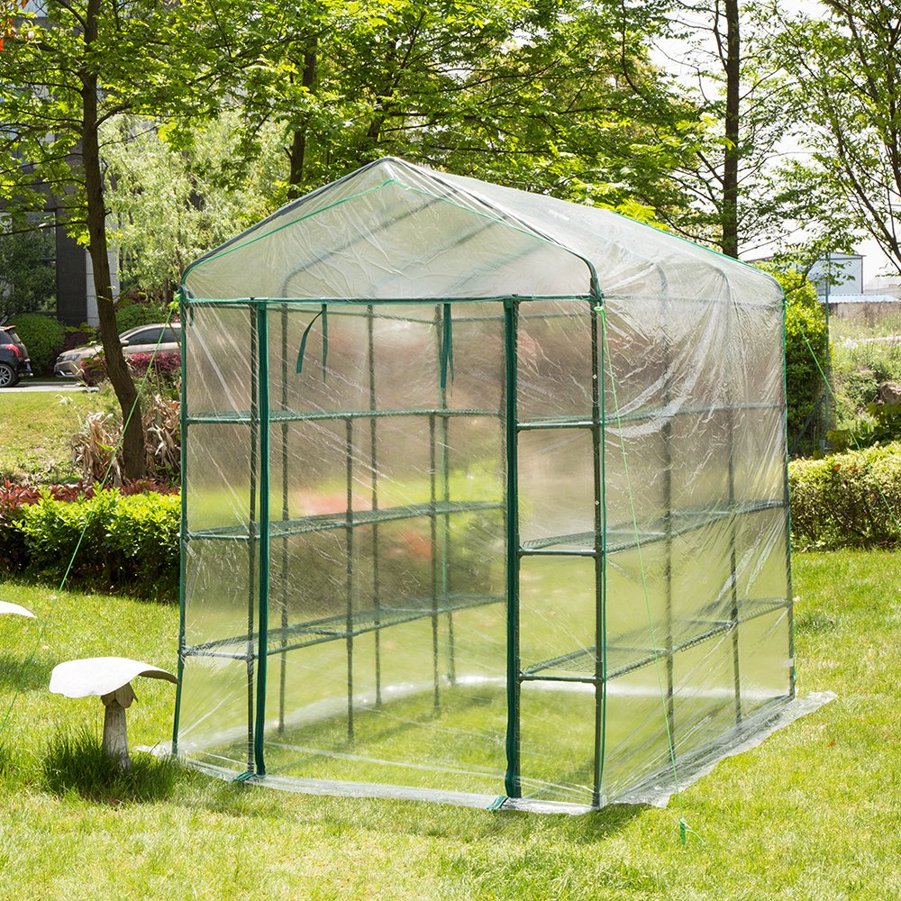 Glitzhome Garden Backyard 3 Shelf Walk-In Zipper Greenhouse by glitzhome