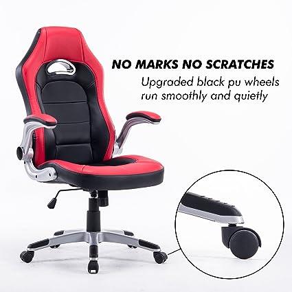 Ejecutivo giratorio juegos de carreras de silla de espalda alta, ordenador PC oficina de cuero