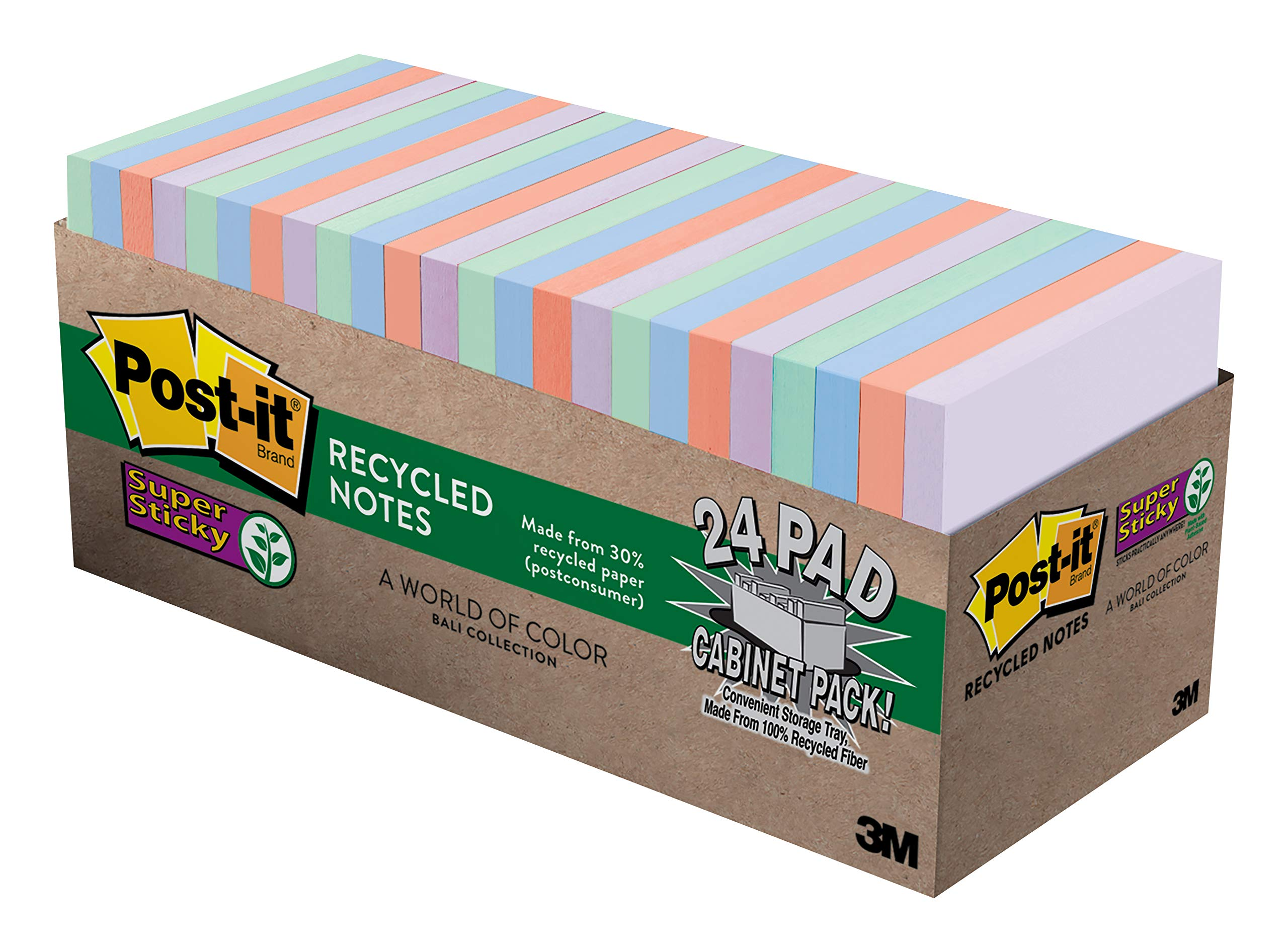 Post-it Super Sticky Recycled Notes, Bali Colors, 2X the Sticking Power, Large Pack, 3 in. x 3 in, 24 Pads/Pack, 70 Sheets/Pad (654-24NH-CP) by Post-it