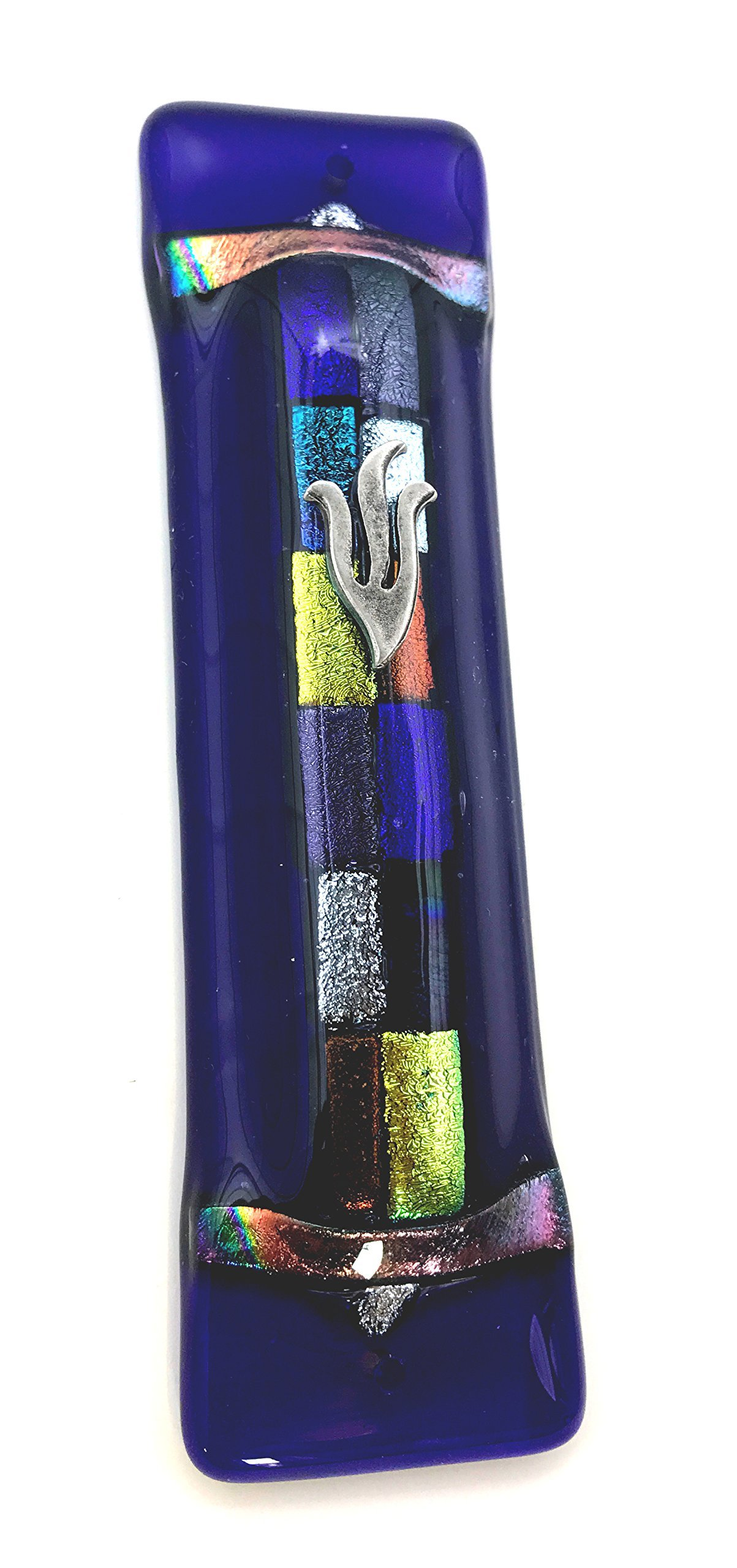 Tamara Baskin Art Glass Twelve Tribes Mezuzah - Midnight Blue Art Glass with Twelve Shimmering Fused Glass Gift Box and Non-Kosher Scroll Included HAND MADE IN THE USA by