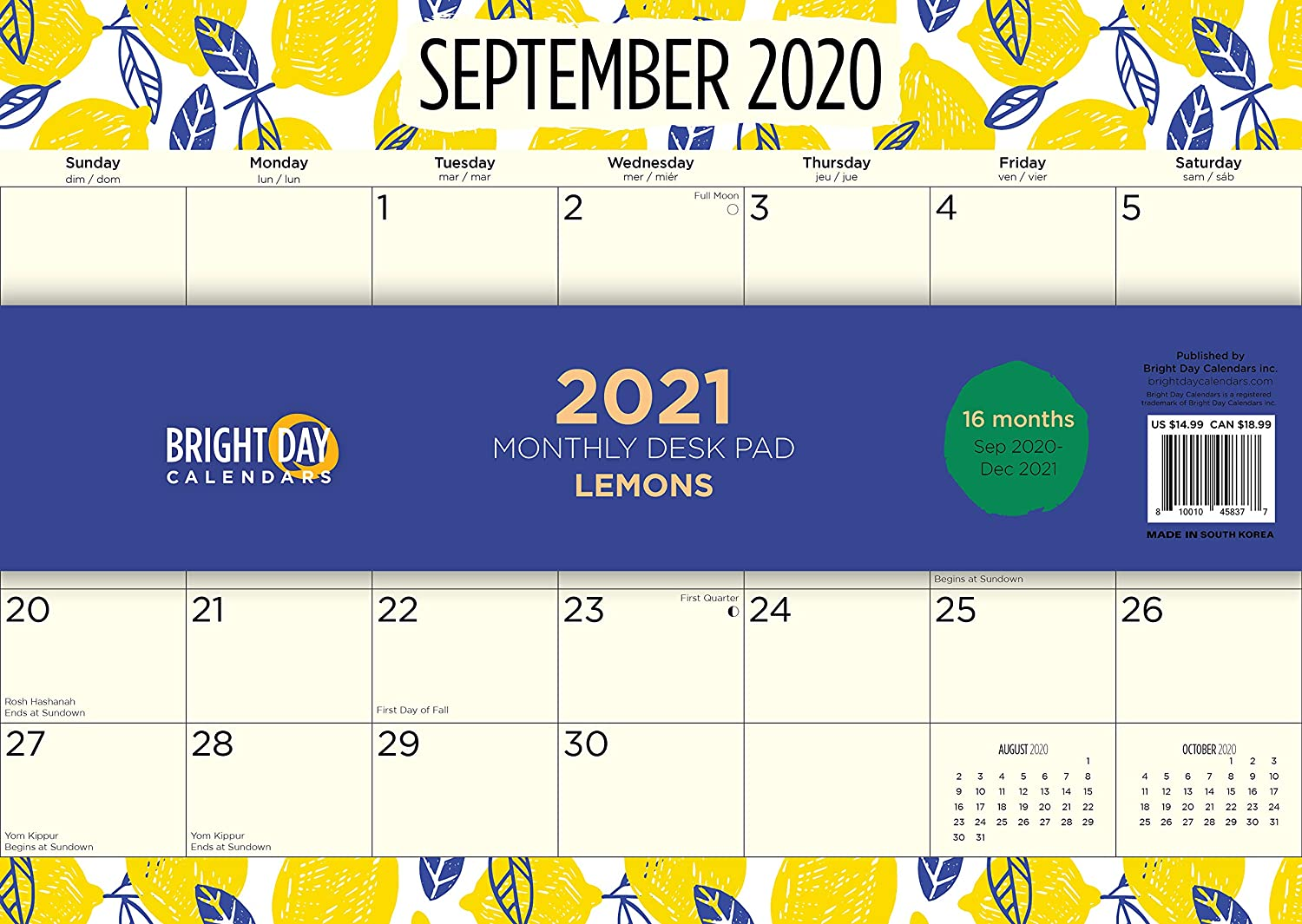 2021 Desk Pad Office Blotter Calendar by Bright Day, 16 Month 15.5 x 11 Inch, Cute Colorful Planner… (Lemons)