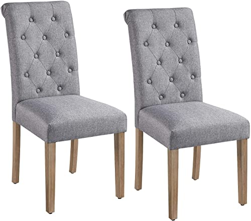 Yaheetech 2PCS Dining Chairs Button Tufted Parsons Diner Chairs Solid Wood Upholstered Fabric High Back Padded Dining Room Chairs Home Kitchen Chair