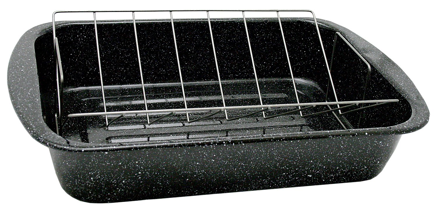 Granite Ware 0564 Open Rectangle Roaster with Non-Stick V-Rack, 19-Inch Columbian Home Products 0564-2