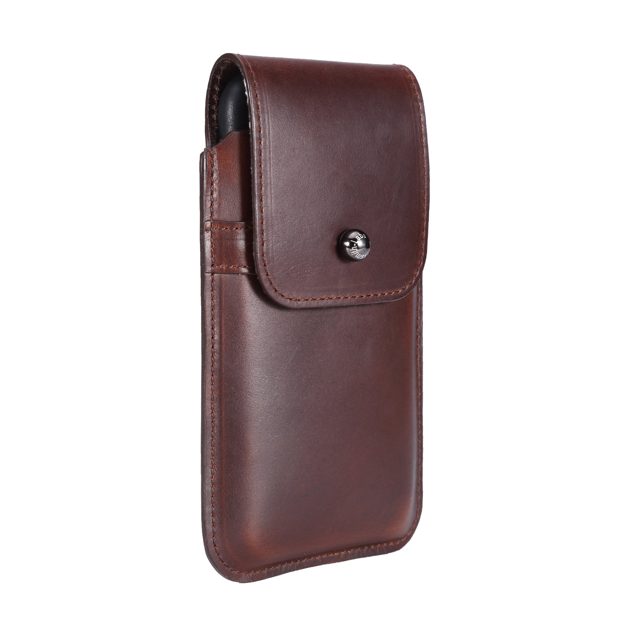 Limited Edition: Blacksmith-Labs Barrett Mezzano 2017 Premium Leather Swivel Belt Clip Holster for Apple iPhone 6/6s/7 for use with Apple Leather Case - Horween Chromexcel Havana Brown/Gunmetal Clip