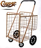Premium Metallic Copper Folding Shopping Cart 150 lb Capacity, w/Spinning Wheels, Grocery Shopping Made Easy Utility Cart 2 Choice (Double Basket) - Hot Copper Design