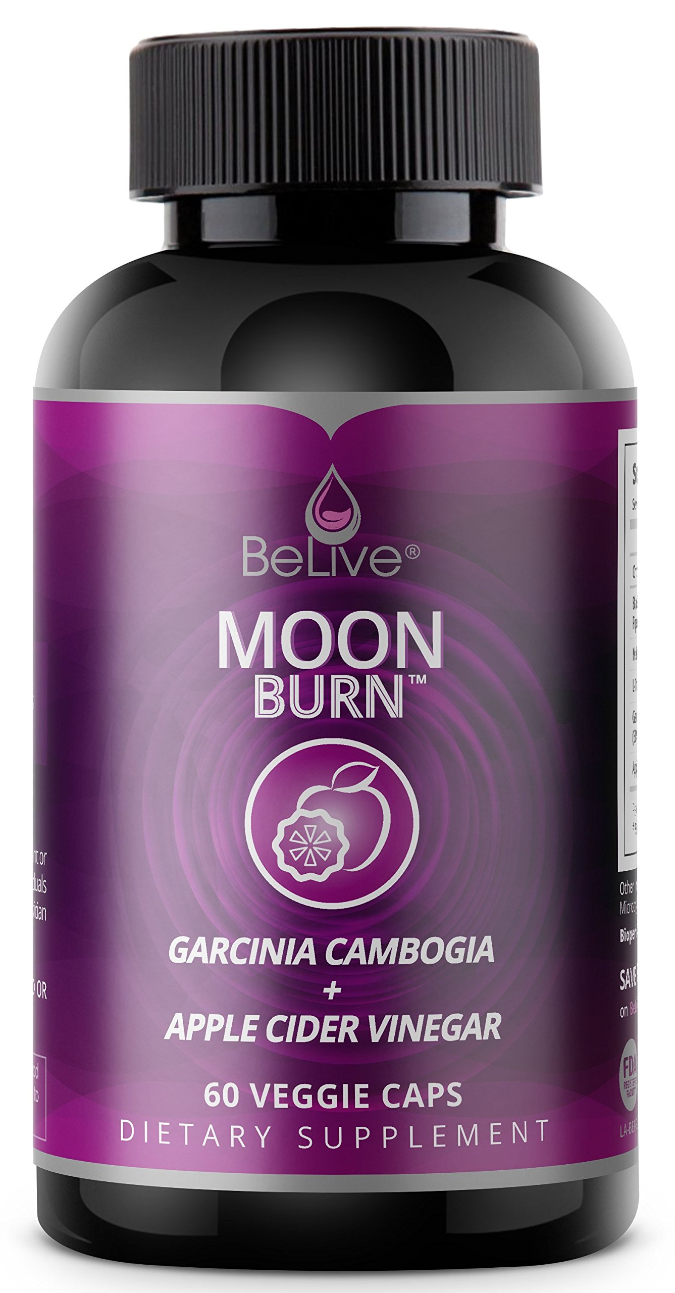 Apple Cider Vinegar & Garcinia Cambogia Weight Loss Pills for Women and Men. Sleep Aid Supplement, Stimulant-Free, Premium Carb Blocker & Appetite Control Fat Burner – MoonBurn 60 V-Caps