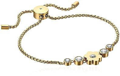 a490b4200433 Amazon.com  Michael Kors Womens Gold-Tone Flower Link Charm Bracelet ...