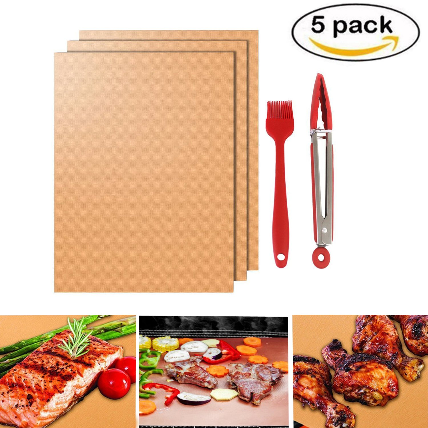 Bioeilife BBQ Mat Set - 3 Pcs Non Stick Grill Mats,1 Premium 9'' Stainless Steel Silicone Kitchen Tong and 1 Silicone Brush (Copper)