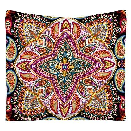 FEOYA Tapiz en la Pared Toalla de Playa Tapiz Bohemio Decoraciòn Casa Estampado Flores Multicolores Hippie