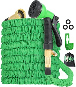 Expandable Garden Hose 100ft, with 3750D Fabric Non-Kink Garden Hose, 3/4-Inch All-Brass Solid Fittings Super-Lightweight Flexible Garden Hose for Gardening and Cleaning