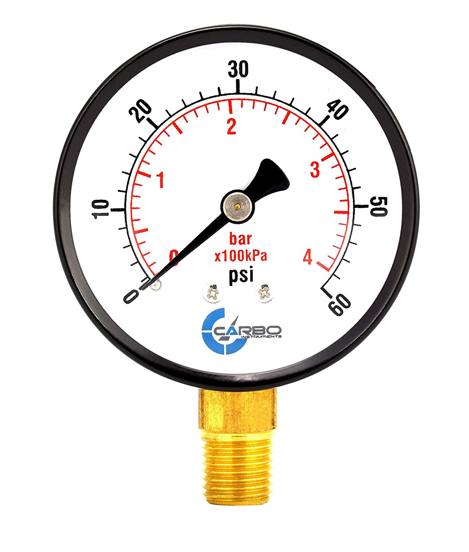 "Pool and Spa Filter Pressure Gauge 2-1/2"", Black Steel Case, Dry, 0-60 psi/kPa, Lower Mount 1/4"" NPT, Glass Lens Type Super Durable"