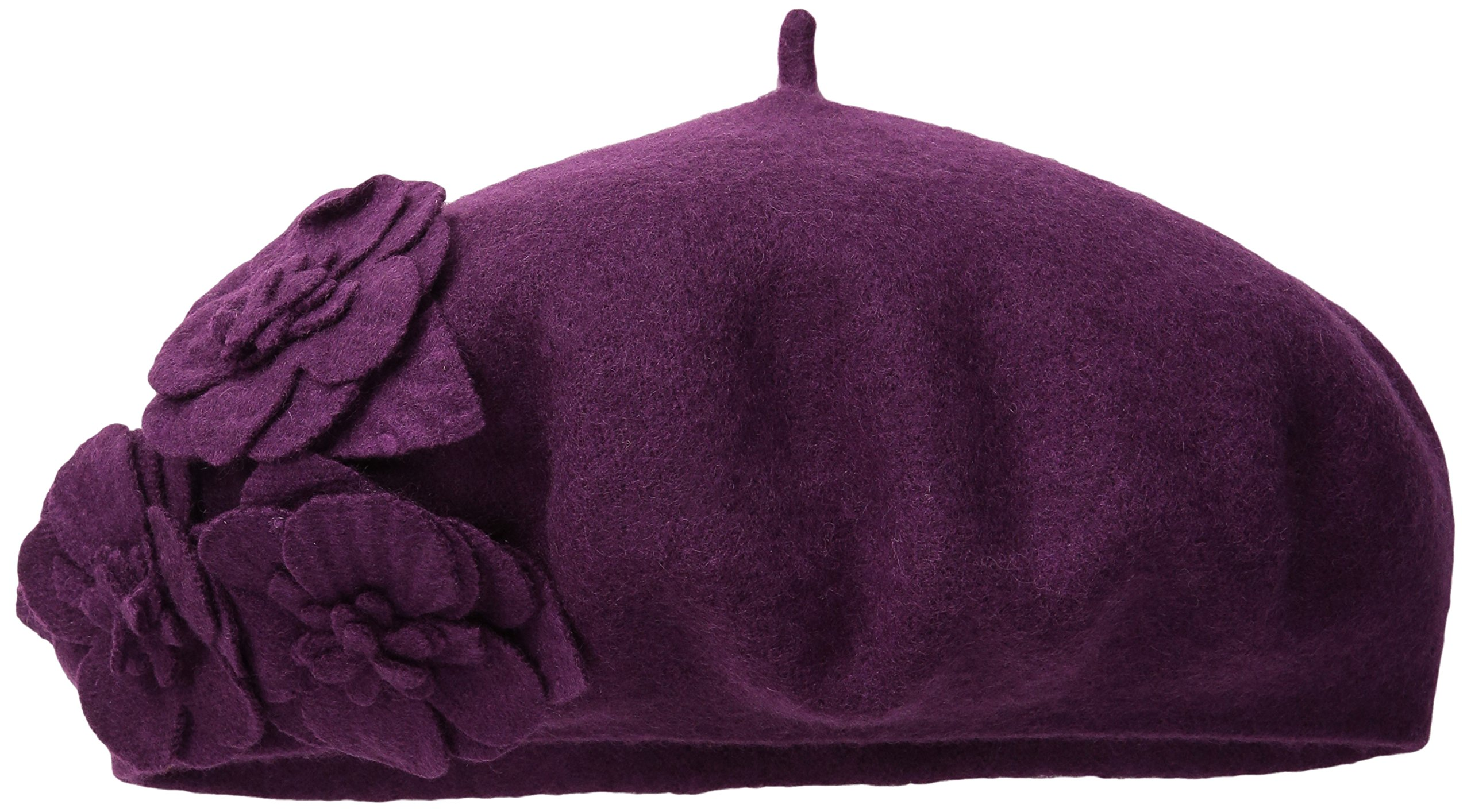 San Diego Hat Company Women's Wool Beret Hat with Self Flowers, Berry, One Size