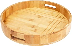 Decorative Coffee Table Tray by Coopers Grace, Wooden Round Serving Tray for Living Room, Round Wood Tray for Ottoman or Side Table, Charcuterie Board or Cheese Platter, Bamboo Coffee Tray