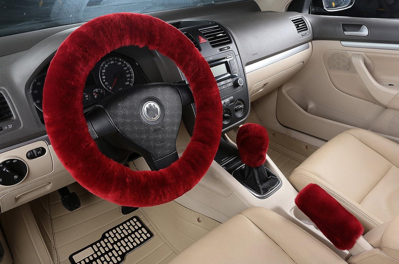 Australia Wool Auto Steering Wheel Cover Set, U&M 3 Pcs Pure Sheepskin Soft Fur Steering Wheel Cushion Handbrake Cover Gear Shift Cover 14.96'x 14.96' Winter Warm (Red)