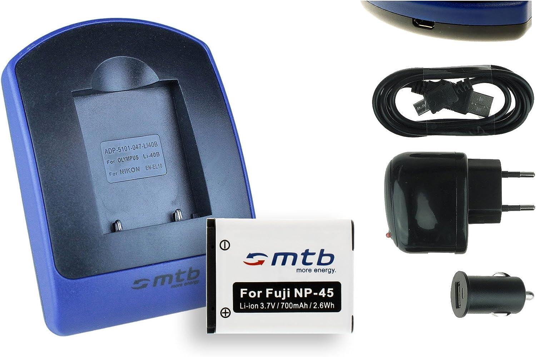 ersetzt Fuji NP-45 vhbw LADEGER/ÄT LADEKABEL NETZTEIL inkl XP70 BC-45A KFZ-LADER passend f/ür Fujifilm Finepix T550 NP-45A NP45