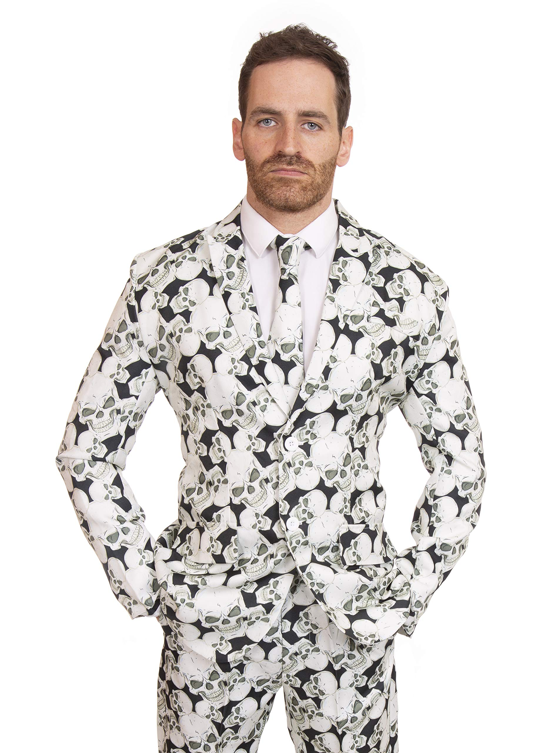 Stag Suits Black White Halloween Skull Print (44'' - 46'' Chest) by Stag Suits