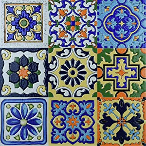 Art3d 6 Sq. Ft Decorative Tiles, Spanish Mediterranean Decor, Hand Painted Talavera Mexican Tiles