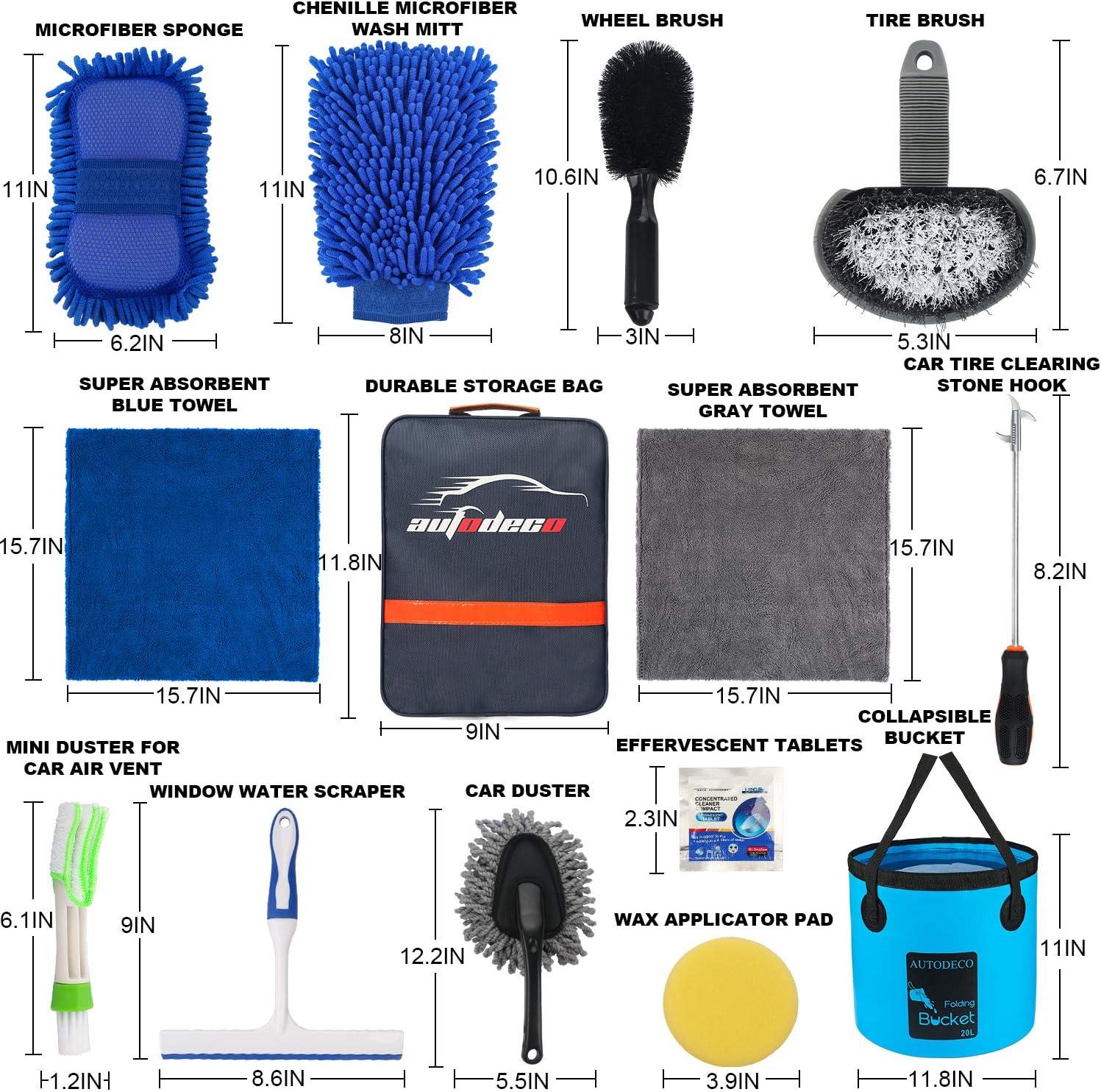 AUTODECO 15Pcs Car Wash Cleaning Tools Kit Set Chenille Microfiber Wash Mitt Sponge Gloves Towels Applicator Pads Wheel Brush Window Water Scraper Air Vent Duster Tire Clearing Stone Hook Car Care Kit