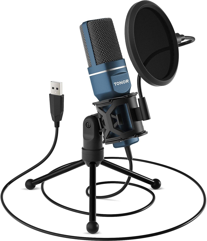TONOR Micrófono PC Micrófono de Condensador Computadora USB Plug & Play con Soporte Trípode & Filtro Pop para Grabación Vocal, Podcasting, Transmisión, Video de Youtube para Laptop Desktop iMa