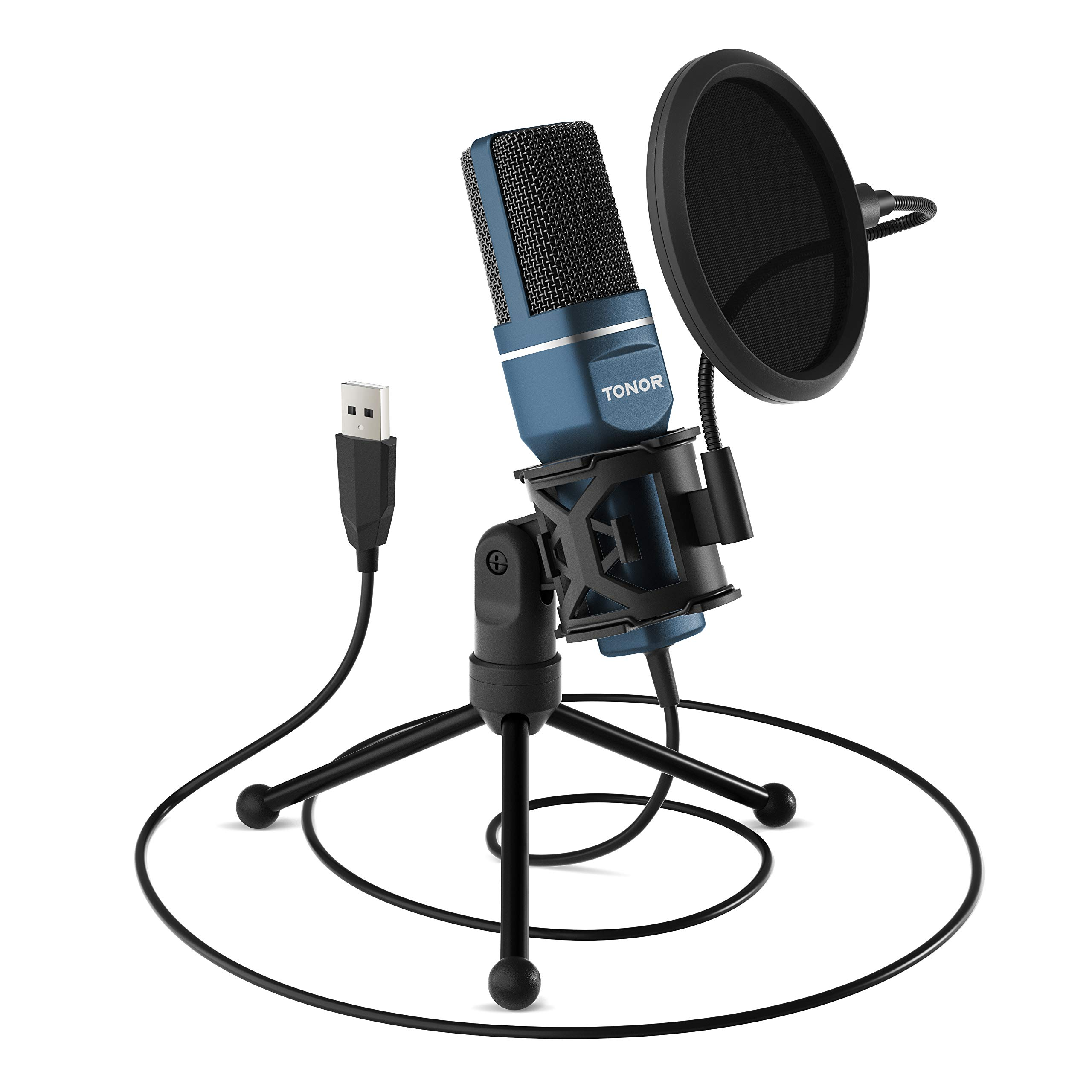 TONOR PC Microphone USB Computer Condenser Gaming Mic Plug & Play with Tripod Stand & Pop Filter for Vocal Recording, Podcasting, Streaming for PC Laptop Desktop Windows Computer