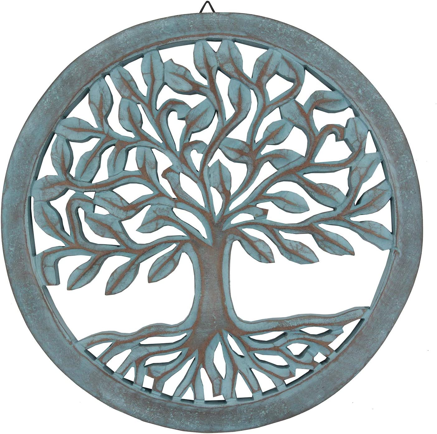 DharmaObjects Handcrafted Wooden Tree Of Life Wall Decor Hanging Art (Turquoise)