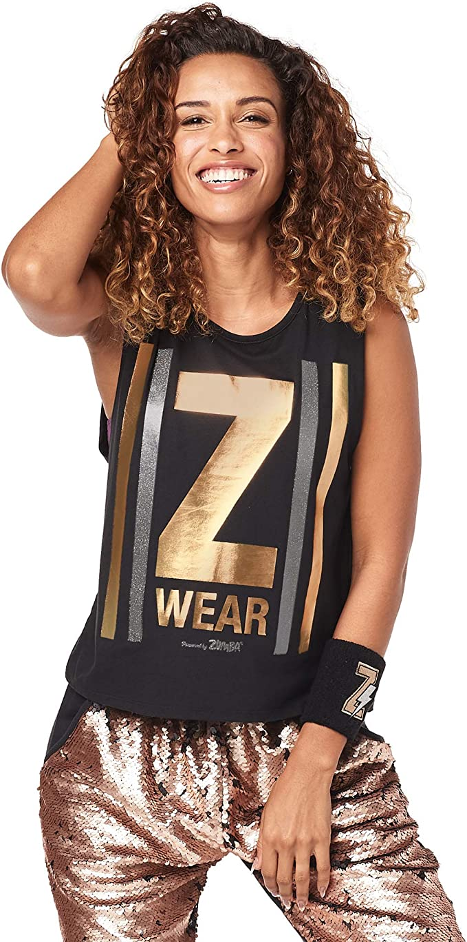 Zumba Womens Active Backless Dance Fitness Open Back Workout Tank Tops Shirt