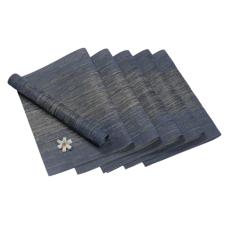 Pauwer Placemats Set of 8 Crossweave Woven Vinyl Placemat for Kitchen Table Heat Resistant Non-slip Kitchen Table Mats Easy to Clean (8pcs Placemats, Blue)