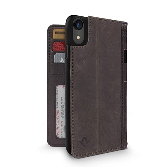 huge selection of 901c7 16cb5 Twelve South BookBook for iPhone XR | 3-in-1 Leather Wallet case, Display  Stand and Removable Shell (Brown)