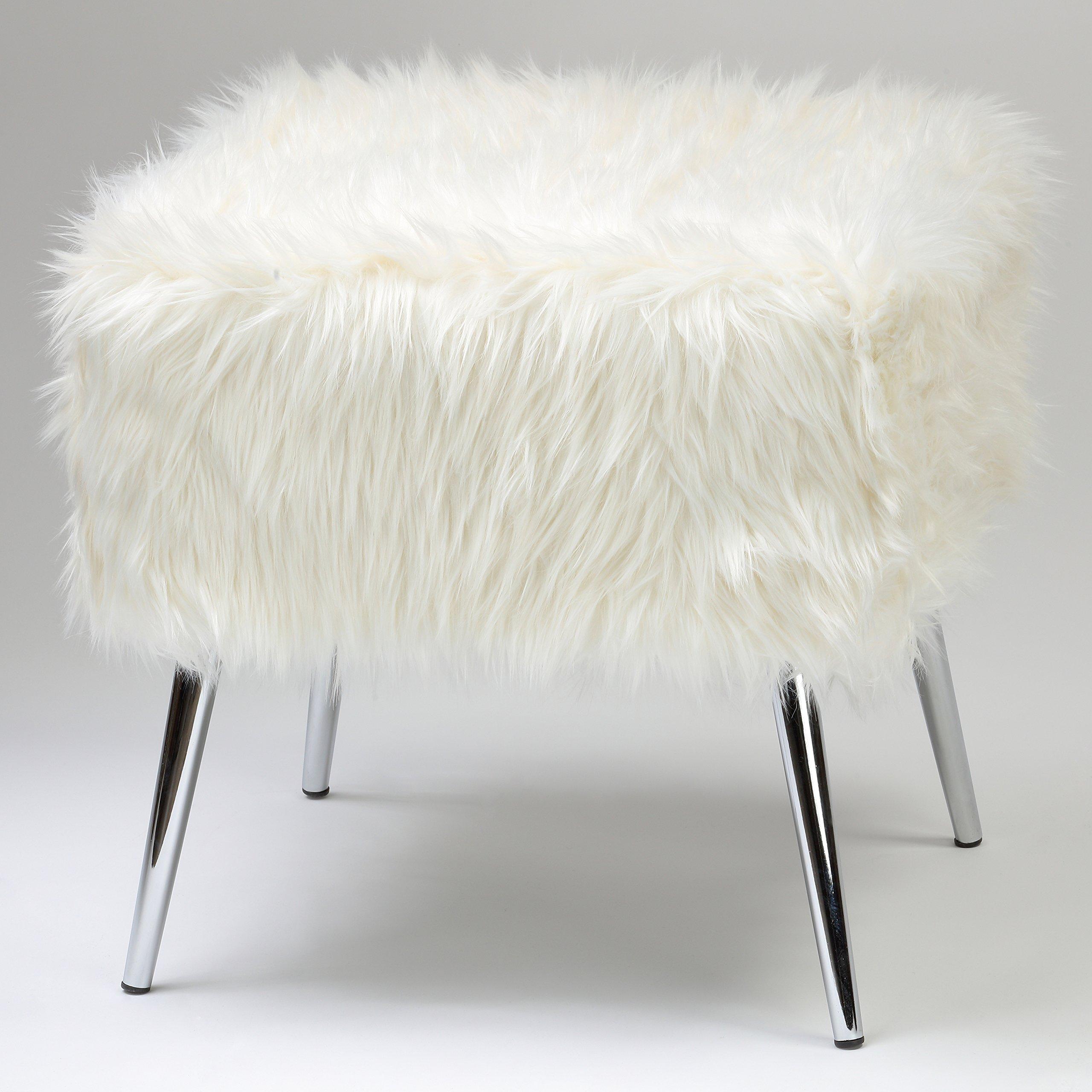 Cortesi Home Olivia White Faux Fur Ottoman, 20''