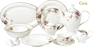 Lorren Home Trends Cora-57 57 Piece Dinnerware Set-Bone China Service for 8 People-Cora, One Size, Multicolor