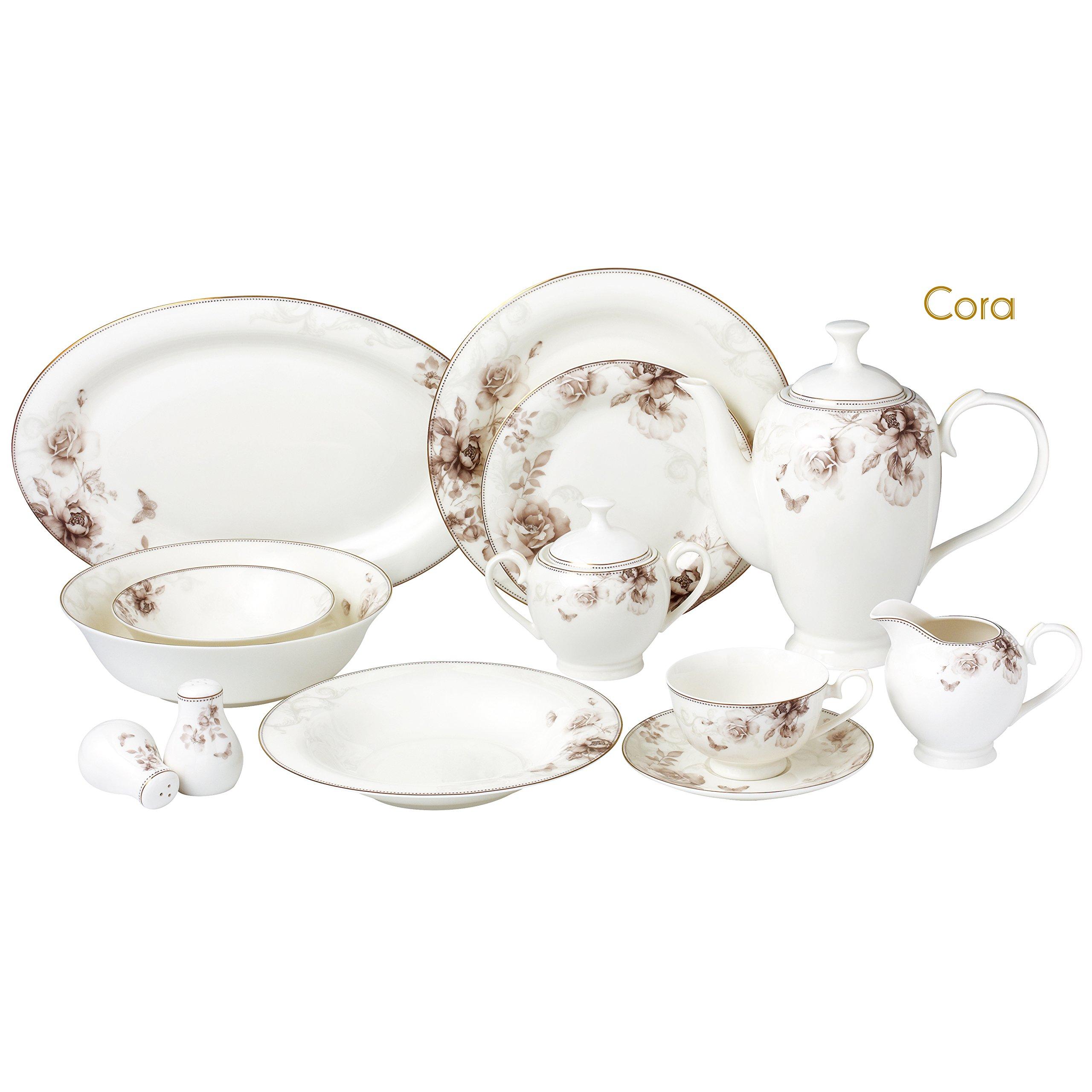 Lorren Home Trends Cora-57 57 Piece Dinnerware Set-Bone China Service for 8 People-Cora One Size Multicolor