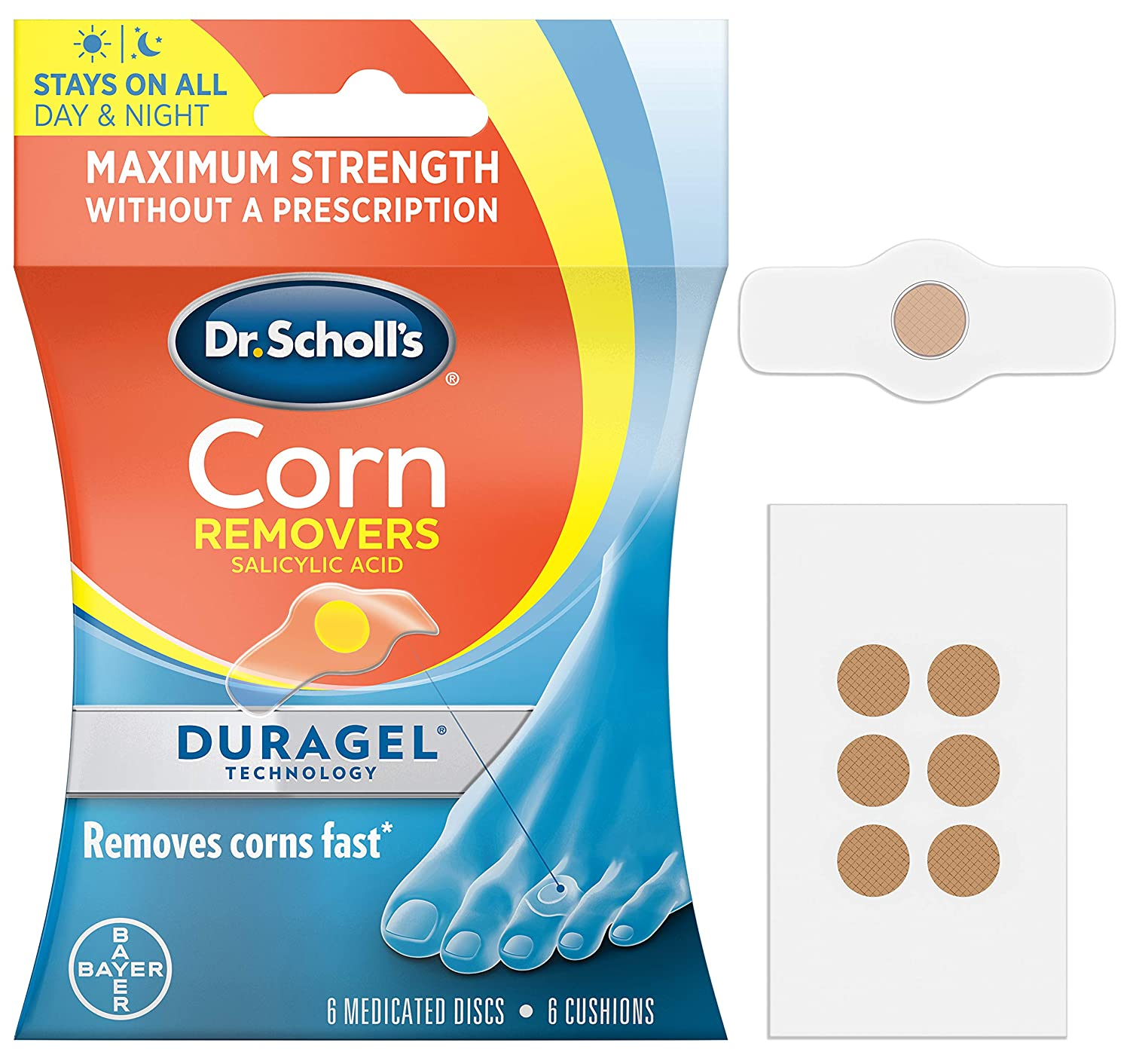 Dr. Scholl's CORN REMOVER with Duragel Technology, 6ct // Removes Corns Fast and Provides Cushioning Protection against Shoe Pressure and Friction for All-Day Pain Relief