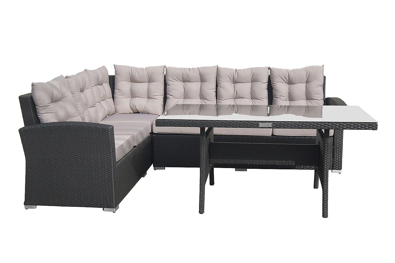 VILLANA exklusive Loungegruppe aus hochwertigem Polyrattan in braun, Esstisch mit Glasplatte ca. 151 x 81 x 69 cm, inkl. Polster, Gartenlounge für 6 Personen, Ecksofa, Couch, 2 Hocker, wetterfest