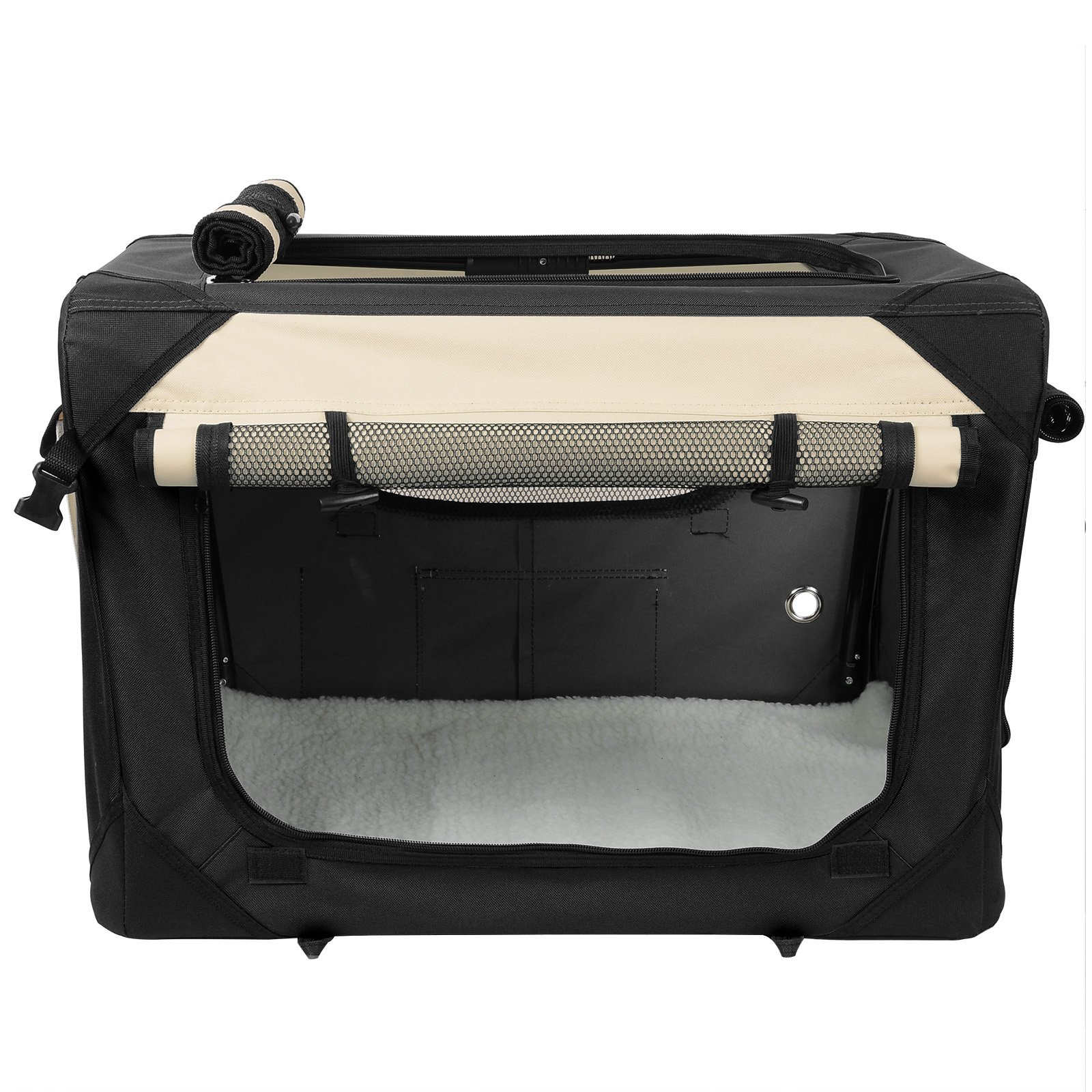 WOLTU Premium Soft Sided Pet Carrier Foldable Pet Travel Crate, Black+Beige, PCS01blkS4-a by WOLTU (Image #2)