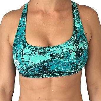 bdcb8ce221 Born Primitive Vitality Sports Bra (Teal Splash) at Amazon Women s Clothing  store