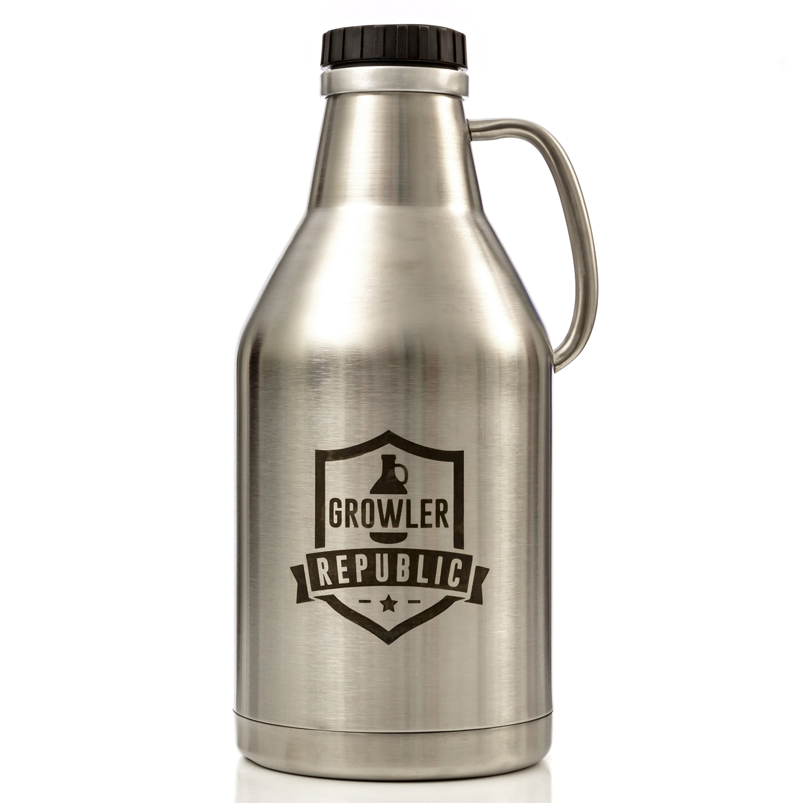 The Jug - Stainless Steel Beer Growler With Handle & Screw Top 64oz Double Wall Insulated