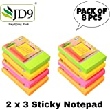 JD9 Self Sticky Note Pads 2x3 inch 800 Sheets Neon Colored for Office, Home.