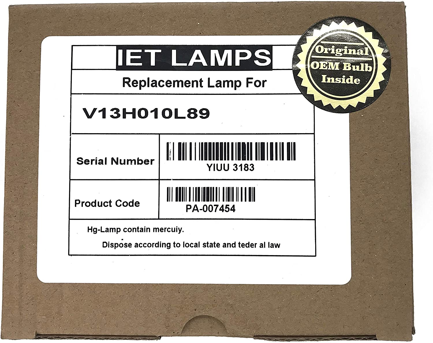 IET Lamps - Genuine Original Replacement Bulb/lamp with Housing for Epson V13H010L89, ELPLP89, Home Cinema 4000, 5035E, 5040E, 5040UB, 6040UB (Power by Osram)