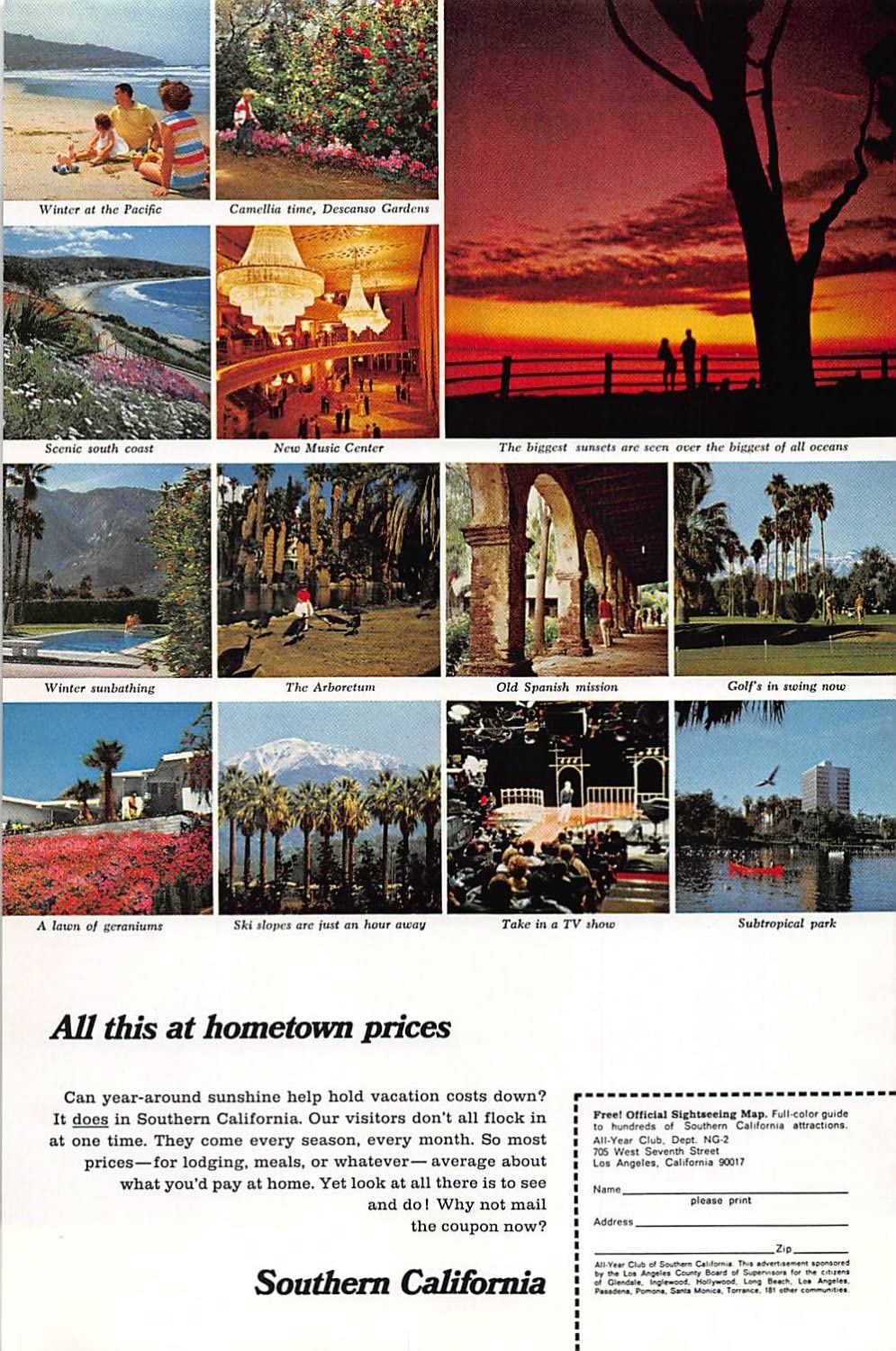 Amazon Com Print Ad 1967 Southern California All This At Hometown Prices Posters Prints