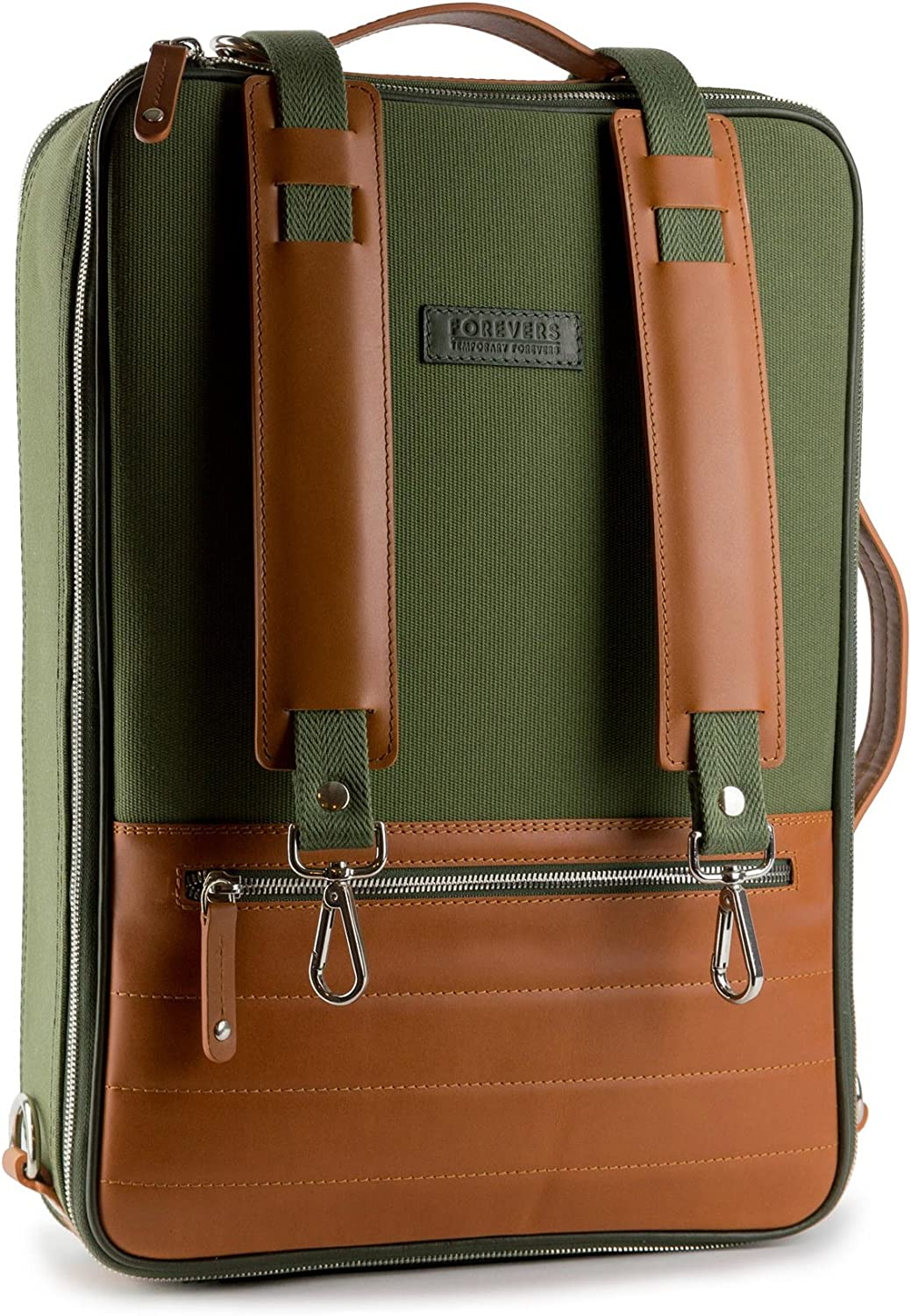 48Hr Switch Leather & Canvas Bag - 3in1 Expandable Briefcase