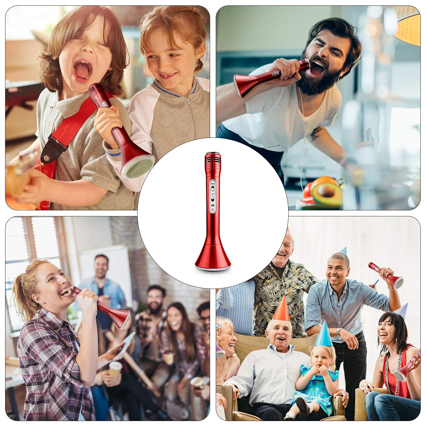 Microphone for Kids, Wireless Bluetooth Microphone with Bluetooth Speaker and Multi-color LED Lights Handheld Singing Machine Girls Boys Birthday Gift Compatible with PC/iPad/iPhone/Smartphone - (Red) by WOSTOO (Image #6)