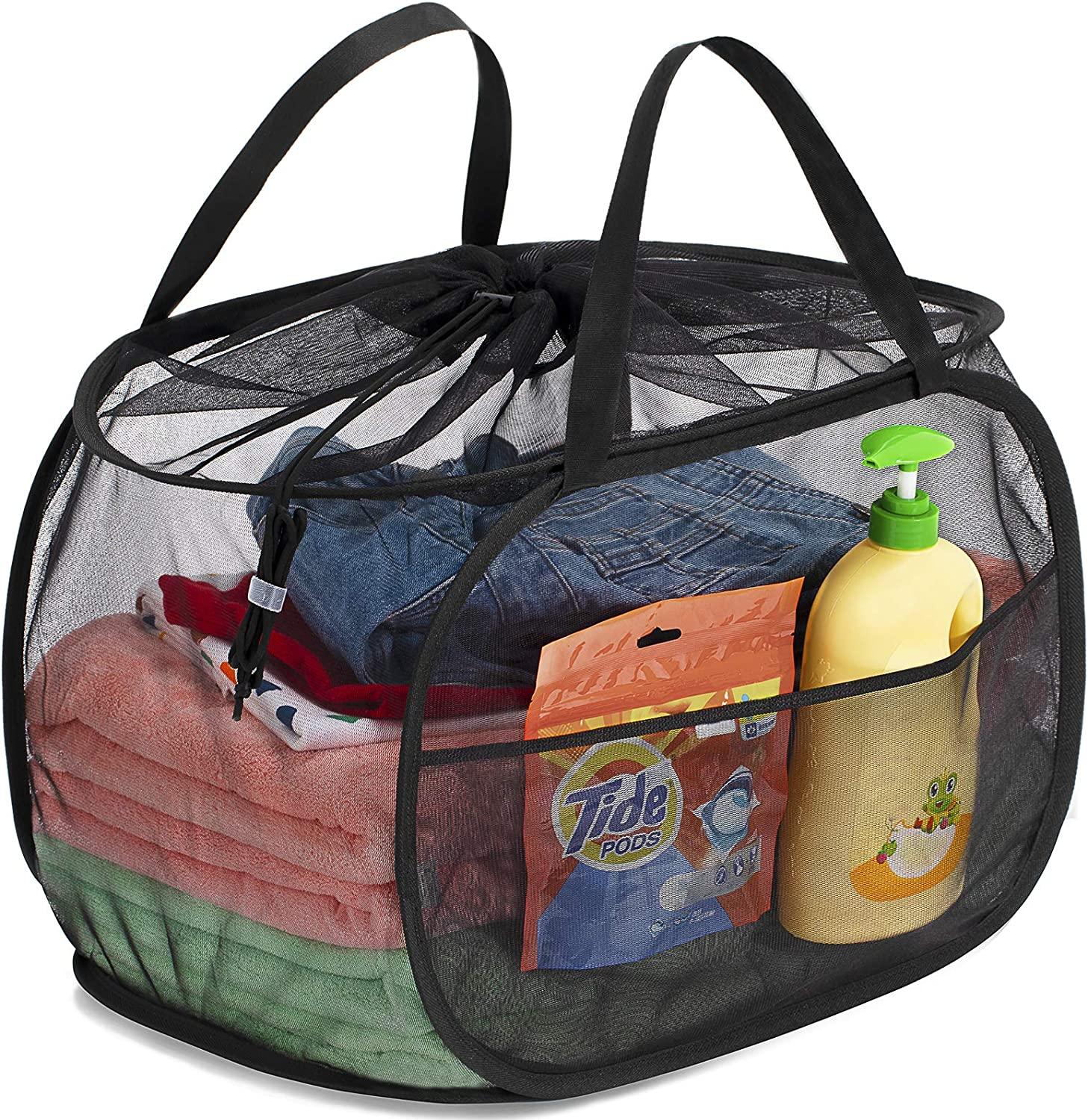 Black TENRAI Drawstring Closure Mesh Pop-Up Laundry Hamper,Large Opening with Two Compartments,Adjustable Handles /& Convenient Side Pocket,Collapsible Laundry Basket Suitable for Home or Travel